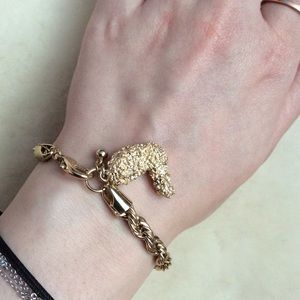 Fried chicken charm bracelet, gold tone new, fab